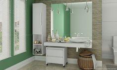 Conjunto para Banheiro com Módulo Nicho Simples 1 Porta Inventa, Bancada Multiuso e Gaveteiro Branco - Caaza
