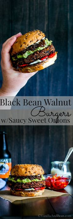 Packed with texture flavor and those boozy saucy sweet onions -. Packed with texture flavor and those boozy saucy sweet onions - oh my! Black Bean Walnut Burgers with Saucy Sweet Onions Veggie Recipes, Whole Food Recipes, Vegetarian Recipes, Cooking Recipes, Healthy Recipes, Vegan Vegetarian, Vegetarian Barbecue, Hamburger Recipes, Cooking Tips
