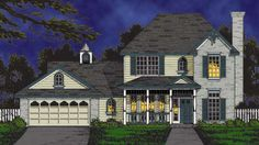 House Plan 77199 | Country   Traditional    Plan with 2098 Sq. Ft., 5 Bedrooms, 3 Bathrooms, 2 Car Garage