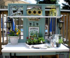 25 Beautiful Potting Bench Design Ideas Creating Convenient Storage and Organization – Lushome Outdoor Potting Bench, Potting Tables, Outdoor Sinks, Bench Designs, Potting Sheds, Diy Bench, Building A Shed, Outdoor Projects, Outdoor Ideas