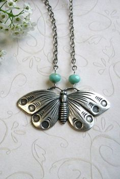 Silver butterfly necklace vintage style moth
