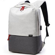 adc96389eff Buy HaloVa Backpack, Canvas Laptop Backpack USB Charging Port, Large  Capacity Travel Backpack School Bag Student Men, Black White online
