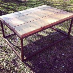Custom Made Metal Base Reclaimed Wood Top Coffee Table