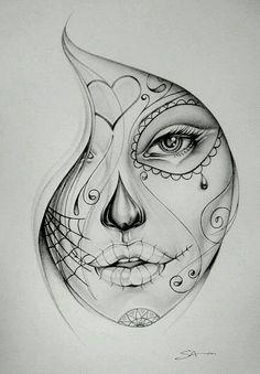 Get La Muerte Tattoo. Still looking for design, placement - thigh. Get La Muerte Tattoo. Still looking for design, placement - thigh. Sugar Skull Mädchen, Sugar Skull Girl Tattoo, Girl Skull, Skull Art, Sugar Tattoo, La Muerte Tattoo, Catrina Tattoo, Skull Sketch, Face Sketch