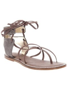 Brown Calf Leather 'Rudofsky' Sandals from BERNARDO VINTAGE COUTURE featuring a round thong toe, cushioned brown leather sole, self tie-fastening wrap-around ankle strap and contrasting fabric detail at the back.