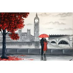 London Romance Painting by Aisha Haider (€175) ❤ liked on Polyvore featuring home, home decor, wall art, outside wall art, outdoor home decor, london wall art, outside painting and outdoor wall art