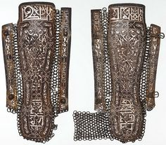 Ottoman mail and plate kolçak (greaves / shin armor) worn by fully armored cavalryman (sipahi) in conjunction with migfer (helmet), dizcek (cuisse or knee and thigh armor), zirah (mail shirt), kolluk/bazu band (vambrace/arm guards), and krug (chest armor). Museums often confuse kolçak (greaves) for kolluk/bazu band (vambrace/arm guards), even in Turkish museums they are labeled as arm guards and mounted on the arms of display mannequins rather than on the lower leg.15th c, Persia, Met…