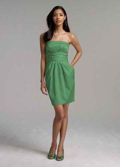 Bridesmaid dress - clover green. http://www.davidsbridal.com/Product_Short-Strapless-Cotton-Sateen-Dress-39261_Bridal-Party-Bridesmaids-Shop-By-Color