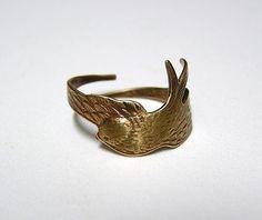 Steampunk SPARROW RING, bird wings wraps around finger