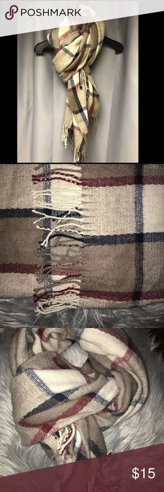 🌟F21 Plaid Maroon/Tan/Navy/Cream Scarf🌟 Lightly worn in EXCELLENT CONDITION super cozy and warm Wear tons of ways!   86 inches long by 24 inches wide Forever 21 Accessories Scarves & Wraps