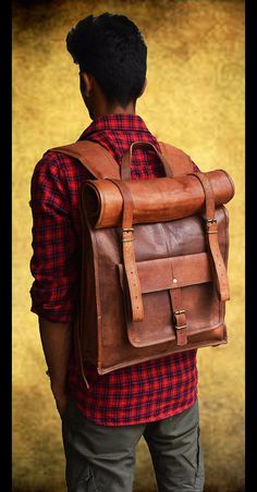 Stylish leather backpack made with top grain oil pull up leather. Oil pull up leather gets darker with usage and ages gracefully. scratches etc on the leather only makes it look more vintage . The...