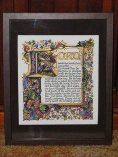 Illuminated Calligraphy Made to Order - Commission Sample Prayer for Success (2010) via Etsy