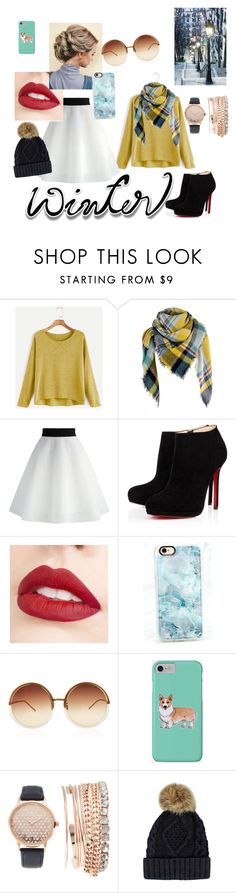 """Simply winter"" by the-crazy-dog-lover ❤ liked on Polyvore featuring Chicwish, Christian Louboutin, Jouer, Casetify, Linda Farrow, Corgi and Jessica Carlyle"