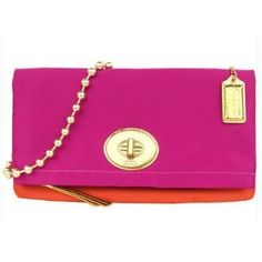 Coach Amanda Satin Foldover Clutch Bag Tote w Gold Chain 12926 Magenta Tangerine (Apparel)  discount  Coach 70% off
