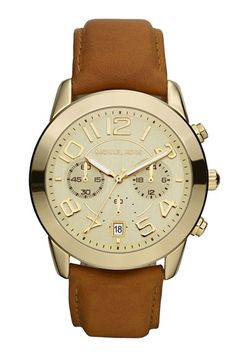 Michael Kors Chronograph Leather Strap Watch - 33% off http://rstyle.me/n/vbv4mnyg6