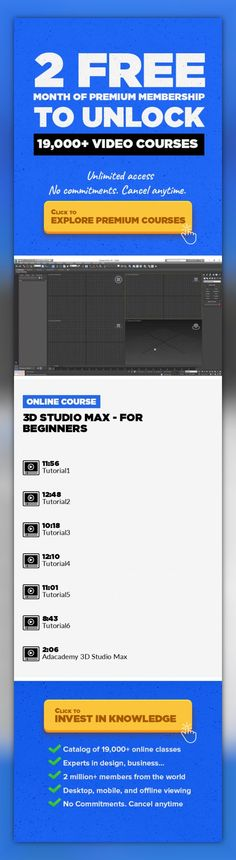 3D Studio Max - For Beginners Interior Design, Animation, 3D Design, Game Design, 3D Computer Graphics, 3D Modeling, Graphic Design, Creative, Visual Effects #onlinecourses #onlinelearningdesign #onlinecourseswebsiteIn this course you'll learn to use the latest version of 3D Studio Max's basics tools for modelling and renderings. You will receive hands-on training that addresses real world ...