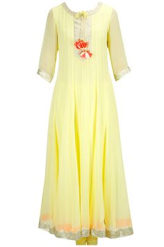 Pale yellow gota detailed anarkali set with coral embroidered dupatta available only at Pernia's Pop-Up Shop.