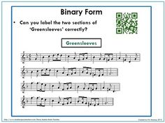 FORM in MUSIC: Binary, Ternary and Rondo.  This is a 16 page PDF file with explanation, examples, exercises for students and QR codes leading to music examples.    $