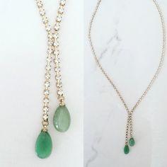 1960s Rhinestone Necklace with Jade Stones | Vintage 60s Rhinestone Necklace with Green Stones by TheFrenchSeventyFive