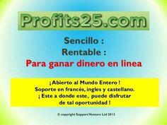 TE APOYAMOS  A COMENZAR FELICIDADES GRAN  REGALO  (4PACK PUBLICITARIOS)   TE PAGAMOS 4 PACK DE 25$ NO HAS DE DEVORVERLOS   profits25  http://bit.ly/1LrAgaH SI TE INTERESA  MANDAME TU  NOMBREDE  USUARIO  Y  EMAIL O SKYPE sinergia_dinero DE REGISTRO EN QUE TUOFICINA SEA TU PATROCINADOR A  tuoficinavirtual@gmail.com - http://on.fb.me/1RgOsA1