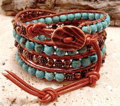 Turquoise Howlite Gemstone & Copper Plate Handmade Beaded Leather Wrap Bracelet  $39
