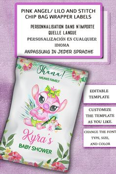 Pink Angel Lilo and Stitch Chip Bag Wrapper Labels Baby Shower, Lilo and Stitch Snack Treats Wrap, Favor Digital Printable Girl, Editable, Etiquetas rosadas de la envoltura del bolso de la viruta de Lilo y de la puntada del ángel, Etiquetas de papel de Anjo cor-de-rosa, Lilo E Saco De Plástico Stitch, Rose Ange Lilo et Stitch Sac à Puce Wrapper Étiquettes, Rosa Engel Lilo und Stitch-Chip-Tasche-Wrapper-Labels, Etiketten für Snacks, Étiquettes pour les collations, Etiquetas para lanches…