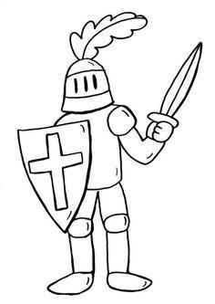 Ausmalbild Ritter: Ritter und Drache kämpfen kostenlos