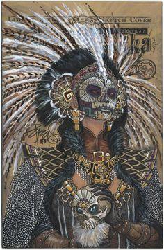 In tribute to Dia de Los Muertos, I give you....  'The Curse of the Aztec Skull'    Lady Mechanika #0 Sketch Edition #187/200  ASPEN COMICS