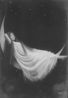 Vintage photo woman on moon
