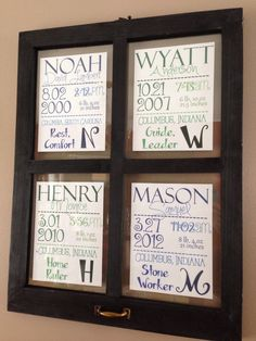 Kids' names in a frame. All the birth info, initial and name meaning at the bottom.