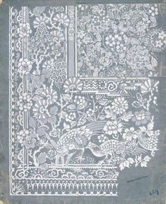 This is a design for a lace curtain by Arthur Silver for the Silver Studio in around 1890 Border Design, Lace Design, Design Art, Textile Prints, Textile Design, Textiles, Border Embroidery Designs, Embroidery Patterns, Hippie Painting
