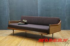 Vintage Walnut Craftsman Daybed Danish Influenced USA Made Original Upholstery Charcoal Eggplant