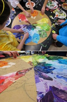 Fun way to celebrate the coming of spring & all the colors that will pop up from the earth! Add on activities to this could be, every student picks something that reminds them of spring, for every color on the wheel. Kids can do this at home too (homeschoolers!). Then kid(s) & adult(s) can go outside & spot different things for each color & return to put the color wheel in the child's room. #Education #Spring2015 #SpringActivities #Learning #B4Schools