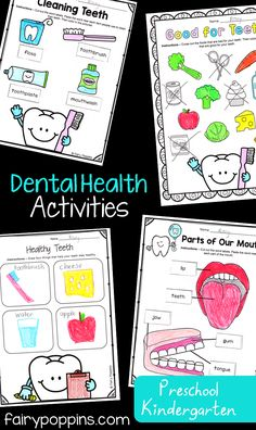Dental activities for kids in preschool, kindergarten, first grade and second grade. Includes crafts, worksheets and sorting activities. Focuses on topics like brushing teeth, parts of a tooth and nutrition. ~ Fairy Poppins care for kids teaching Early Learning Activities, First Grade Activities, Health Activities, Sorting Activities, Activities For Kids, Hygiene Lessons, Health Lessons, Dental Kids, Dental Care