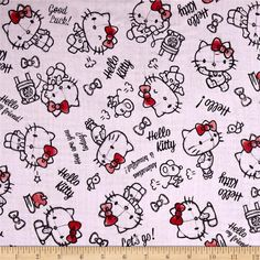 Kokka Sanrio Hello Kitty Rough Sketch Double Gauze Pink from @fabricdotcom  Designed by Sanrio and licensed to Kokka, this double gauze fabric features Hello Kitty and brightly colored polka dots. It's perfect for making popular swaddling blankets, bibs, burp cloths, bedding and baby accessories. This double gauze consists of two layers of gauze tacked together. This is a licensed fabric and not for commercial use. Colors include black and shades of pink.