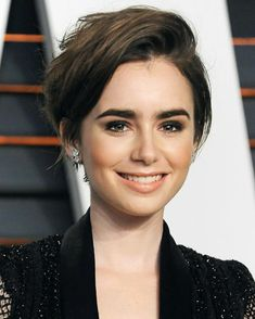 Short Pixie Haircuts With Bangs Haircuts With Bangs, Short Hairstyles For Women, Celebrity Hairstyles, Diy Hairstyles, Pixie Haircuts, Lilly Collins Short Hair, Lily Collins Bob, Super Short Hair, Short Hair Cuts