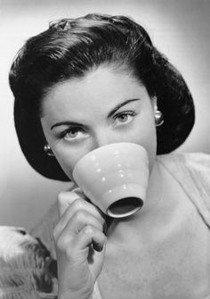 """20""""x16"""" (50x40cm) Box Canvas Print (other products available) - UNITED STATES - CIRCA 1950s: Woman drinking from cup. - Image supplied by Fine Art Storehouse - #MediaStorehouse - 20""""x16"""" inch Box Canvas Print made in the UK"""