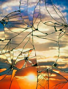 Photographs of Sunsets as Reflected through Shattered Mirrors by Bing Wright sunset mirrors