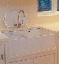 cream corian, white sink