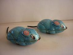 Ancien jouet à friction en tôle, 2 souris YONE Japan, old tin toy mouse | eBay