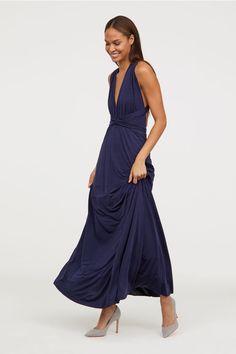 Długa sukienka - Ciemnoniebieski - ONA | H&M PL 1