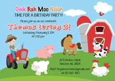 On the Farm Animals Birthday Invitation Boy Tractor by jcbabycakes, $11.00