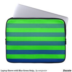 Laptop Sleeve with Blue Green Stripes