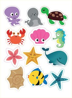 Under the sea cake toppers Sea creatures printable topper Nautical cupcake toppers Sea animals baby birthday Under the sea party - DIGITAL Unter dem Mermaid Birthday, Baby Birthday, Birthday Cake, Nautical Cupcake, Nautical Party, Decoration Creche, Activities For Kids, Crafts For Kids, Sea Cakes