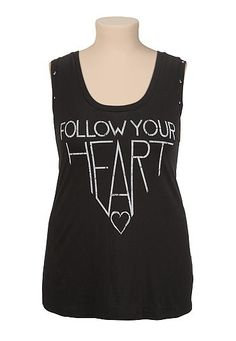 Follow your heart studded plus size tank (original price, $29) available at #Maurices