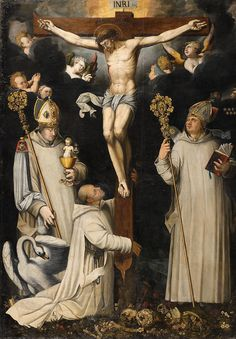 Christ on the Cross with Saint Bruno, Hugh of Lincoln and Hugh of Châteauneuf - Kunsthaus Lempertz