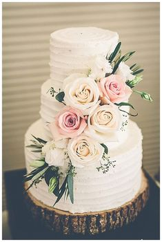 wedding cake with a beautiful rose decoration. - Simple wedding cake with a beautiful rose decoration. -Simple wedding cake with a beautiful rose decoration. - Simple wedding cake with a beautiful rose decoration. Black Wedding Cakes, Wedding Cake Rustic, Wedding Cakes With Flowers, Elegant Wedding Cakes, Elegant Cakes, Beautiful Wedding Cakes, Wedding Cake Designs, Perfect Wedding, Dream Wedding