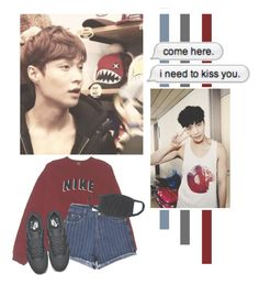 """""""Zhang Yixing"""" by lazy-alien ❤ liked on Polyvore featuring NIKE, Chicnova Fashion, country, EXO, lay, exom and zhangyixing"""