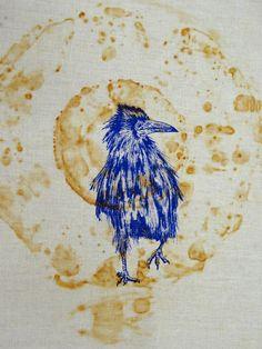 Crow screen print from Dyeing and mark making with rust workshop run by Jule Mallett (website: julemallett.uk Facebook: Jule Mallett)