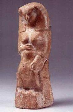 Phoenician Figurine of Pregnant Woman or goddess. Terracotta. Iron Age II, 8th-6th century BCE.